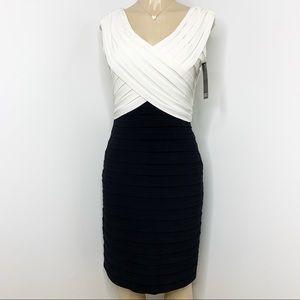 ADRIANNA PAPELL Black & Cream Evening Dress NWT 12